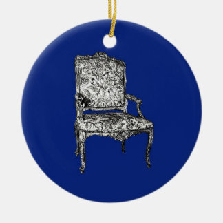 Regency chairs in dark blue christmas ornaments