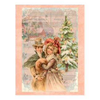 Regency Christmas Couple Vintage Style Gifts Postcard