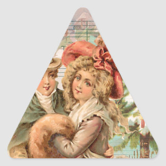 Regency Christmas Couple Vintage Style Gifts Triangle Sticker