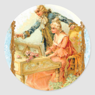 Regency French style Romantic Musical Couple Classic Round Sticker