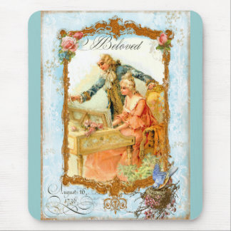 Regency French style Romantic Musical Couple Mouse Pad