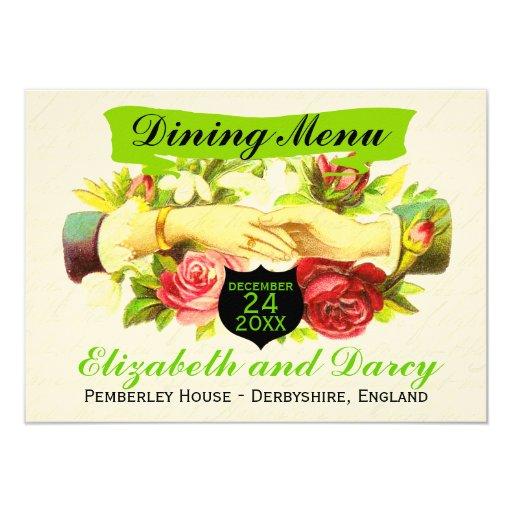Regency Romance Dining Menu Cards