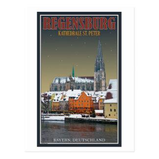Regensbug - catedral en la noche tarjetas postales