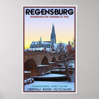 Regensburg - Dom und Steinerne Brücke Poster