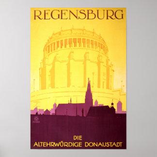 Regensburg Germany Vintage Travel Poster