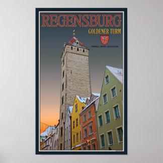 Regensburg - Goldener Turm Winter Poster
