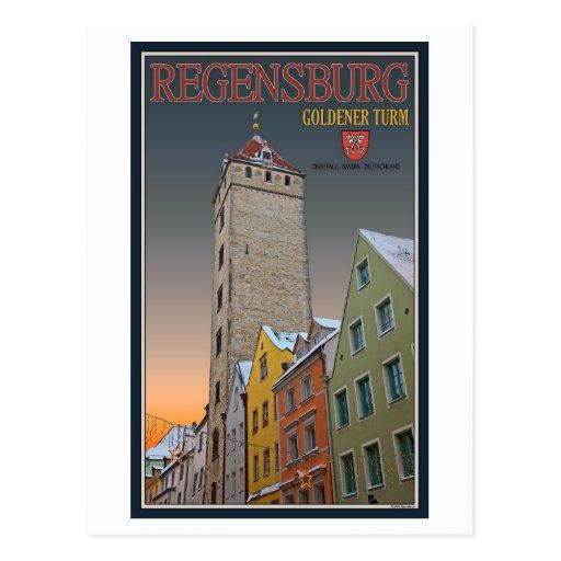 Regensburg - invierno de Goldener Turm Tarjetas Postales