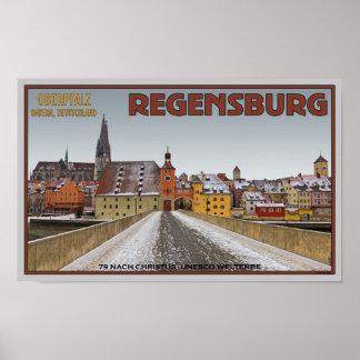 Regensburg - View from Steinerne Brücke Print