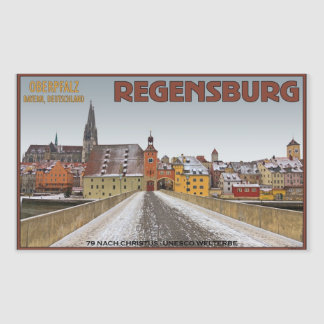 Regensburg - View from Steinerne Brücke Rectangular Sticker