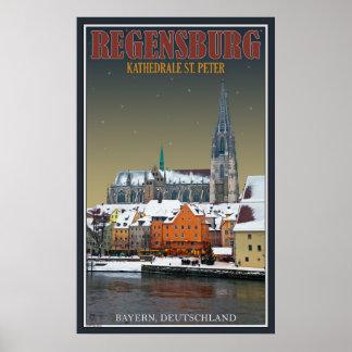Regensburger Dom across the Donau Poster