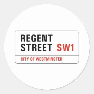 Regent Street, London Street Sign Classic Round Sticker