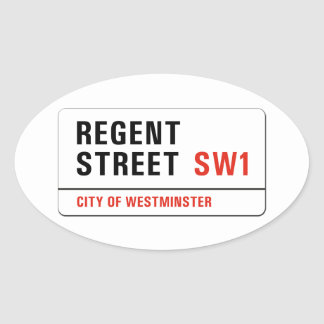 Regent Street, London Street Sign Oval Sticker