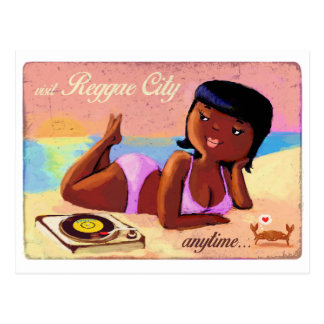 Reggae City Gal on The Beach Postcard