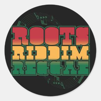 Reggae de Riddim de las raíces Pegatina Redonda
