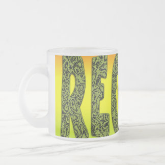 Reggae design frosted glass coffee mug