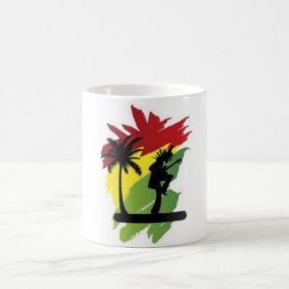 reggae flag with palma and musician rasta man coffee mug
