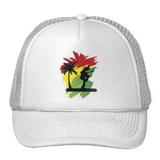 reggae flag with palma and musician rasta man trucker hat