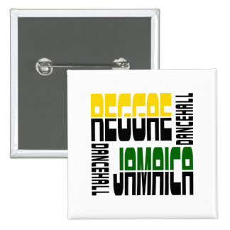 Reggae Jamaica Dance Hall Cube, 3 Colors Pinback Buttons