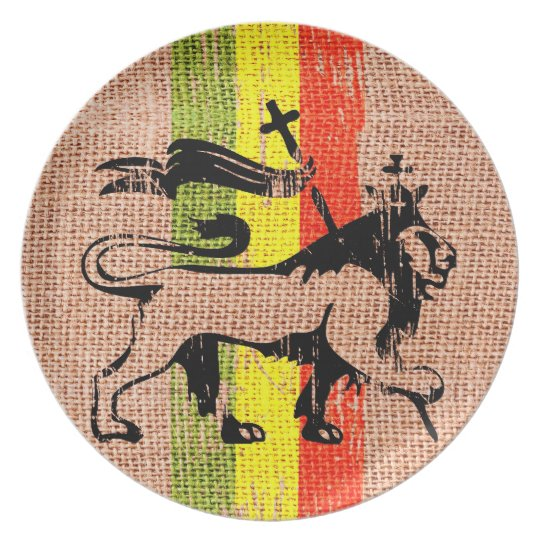 Reggae king lion plate