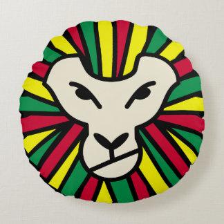 Reggae Lion Rastafari Colored Mane Round Pillow