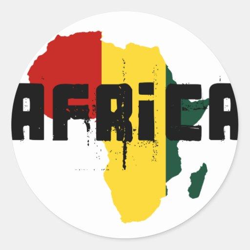 Reggae Map of Africa African Ragga Art Round Sticker