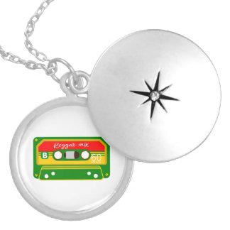 Reggae mix tape cassette eighties locket necklace