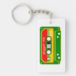 Reggae mix tape cassette Rastafarian Keychain