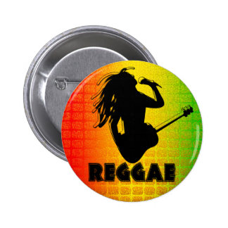 Reggae Music Rastaman Guitar Rasta Round Buttons