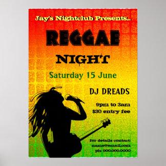 Reggae Night Party Nightclub Poster Poster