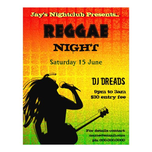 Reggae Night Party or Nightclub Flyer flyer