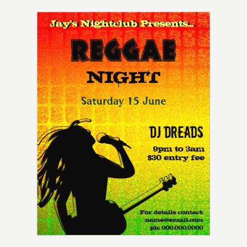 Reggae Night Party or Nightclub Flyer
