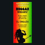 """Reggae Night Party or Nightclub Rack Cards<br><div class=""""desc"""">Reggae Rastaman – REAN100 &#169; Sunny Mars Designs. Reggae night nightclub party rack card with a the silhouette of a Rastafarian man singing reggae music and playing guitar on an abstract background in green,  yellow and red Jamaica colors.</div>"""