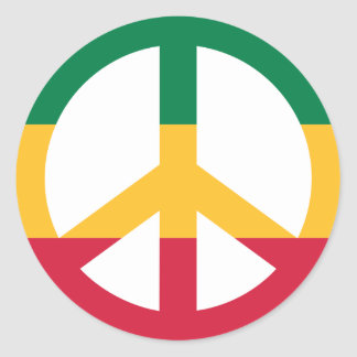 Reggae peace flag classic round sticker