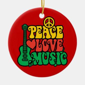 Reggae Peace Love Music Ceramic Ornament