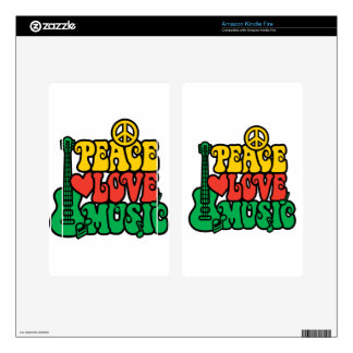 Reggae Peace Love Music Kindle Fire Skins