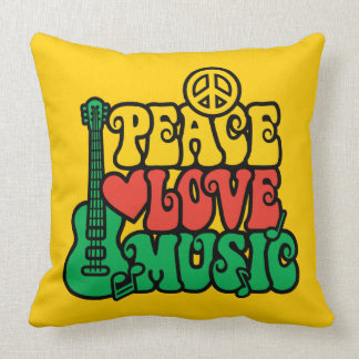 Reggae Peace Love Music Pillow