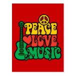 Reggae Peace Love Music Postcard