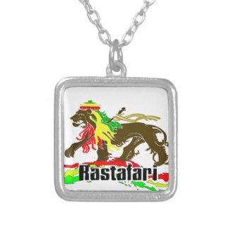 Reggae Rasta Iron, Lion, Zion 2 Square Pendant Necklace