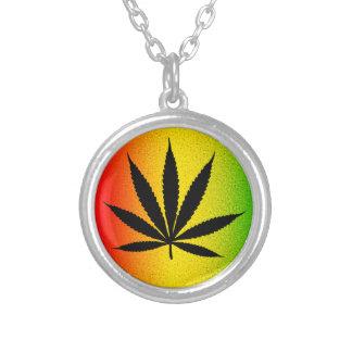 Reggae Rasta Leaf Jamaican Jamaica Round Necklace