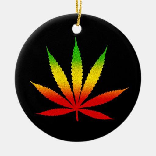 Reggae rasta leaf jamaican standard round ornament zazzle
