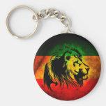 Reggae Rasta Lion Basic Round Button Keychain