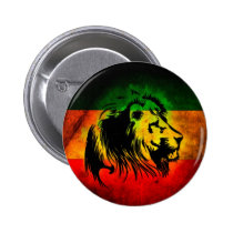 Reggae Rasta Lion Pinback Button