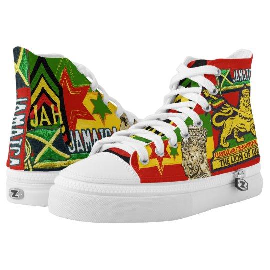 1a2bfab8 Reggae Steppers Jamaican Rasta Hi Top Shoes | Zazzle.com