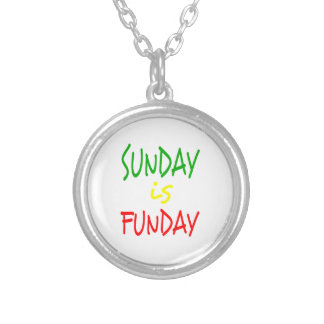 Reggae Sunday Is Funday Silver Plated Necklace