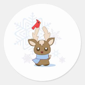 Reggie Reindeer & Jimmy Cardinal Classic Round Sticker