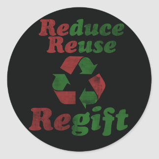 Regift for Christmas Round Stickers