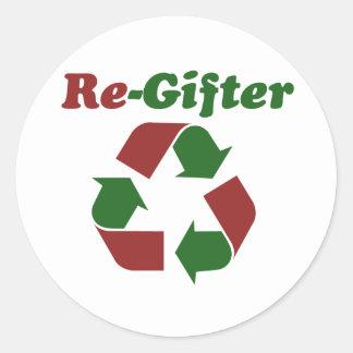 ReGifter para el navidad Etiquetas Redondas
