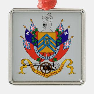 Regimiento D'Artillerie Levis (Armoiries) Adorno Navideño Cuadrado De Metal
