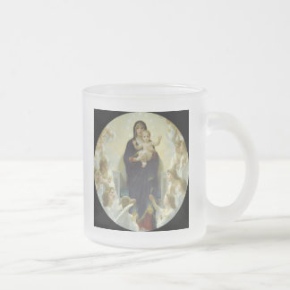 Regina Angelorum Mary with Angels Frosted Glass Coffee Mug