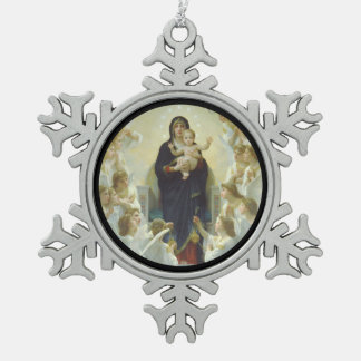 Regina Angelorum Mary with Angels Snowflake Pewter Christmas Ornament